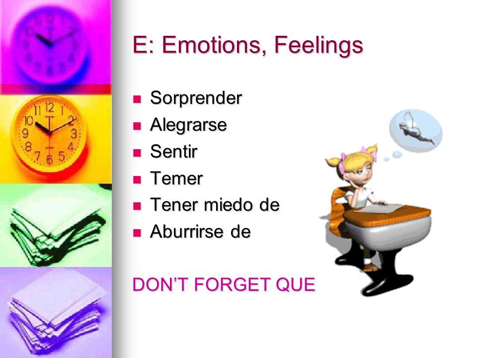 E: Emotions, Feelings Sorprender Sorprender Alegrarse Alegrarse Sentir Sentir Temer Temer Tener miedo de Tener miedo de Aburrirse de Aburrirse de DONT FORGET QUE