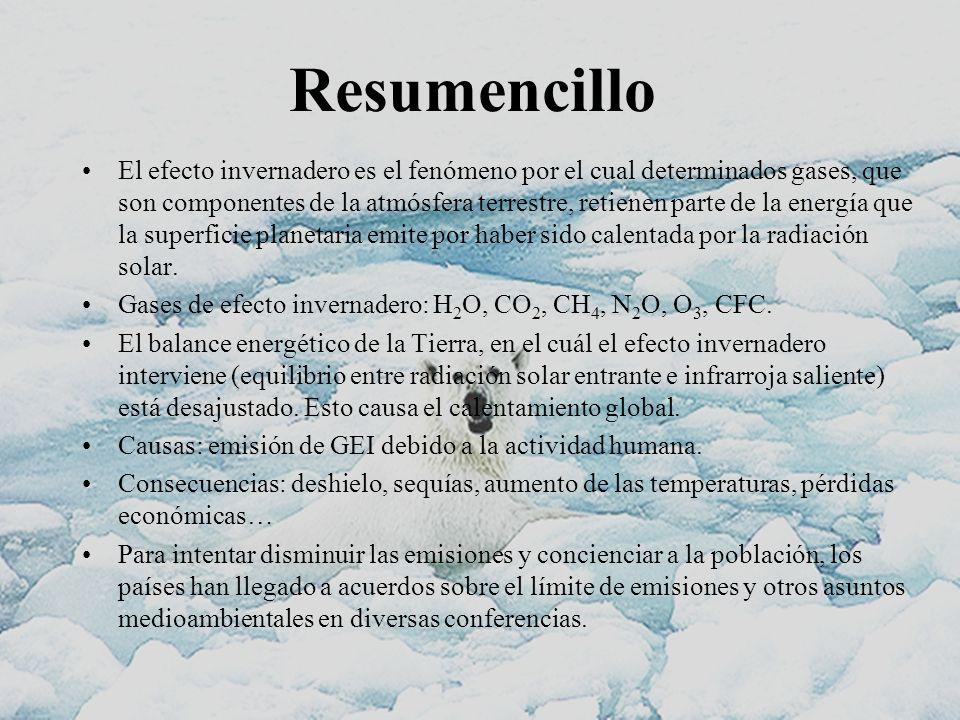 Resumencillo El efecto invernadero es el fenómeno por el cual determinados gases, que son componentes de la atmósfera terrestre, retienen parte de la