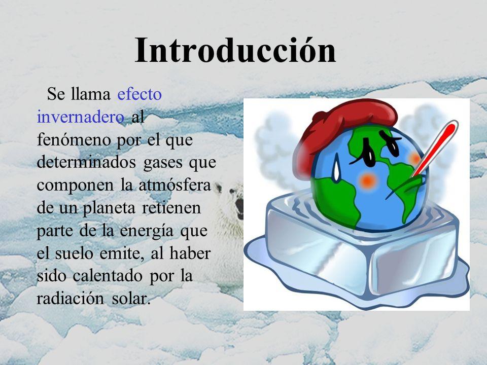 Introducción Se llama efecto invernadero al fenómeno por el que determinados gases que componen la atmósfera de un planeta retienen parte de la energí