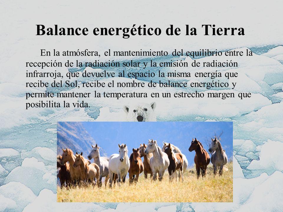 Balance energético de la Tierra En la atmósfera, el mantenimiento del equilibrio entre la recepción de la radiación solar y la emisión de radiación in