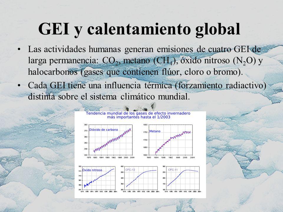 GEI y calentamiento global Las actividades humanas generan emisiones de cuatro GEI de larga permanencia: CO 2, metano (CH 4 ), óxido nitroso (N 2 O) y