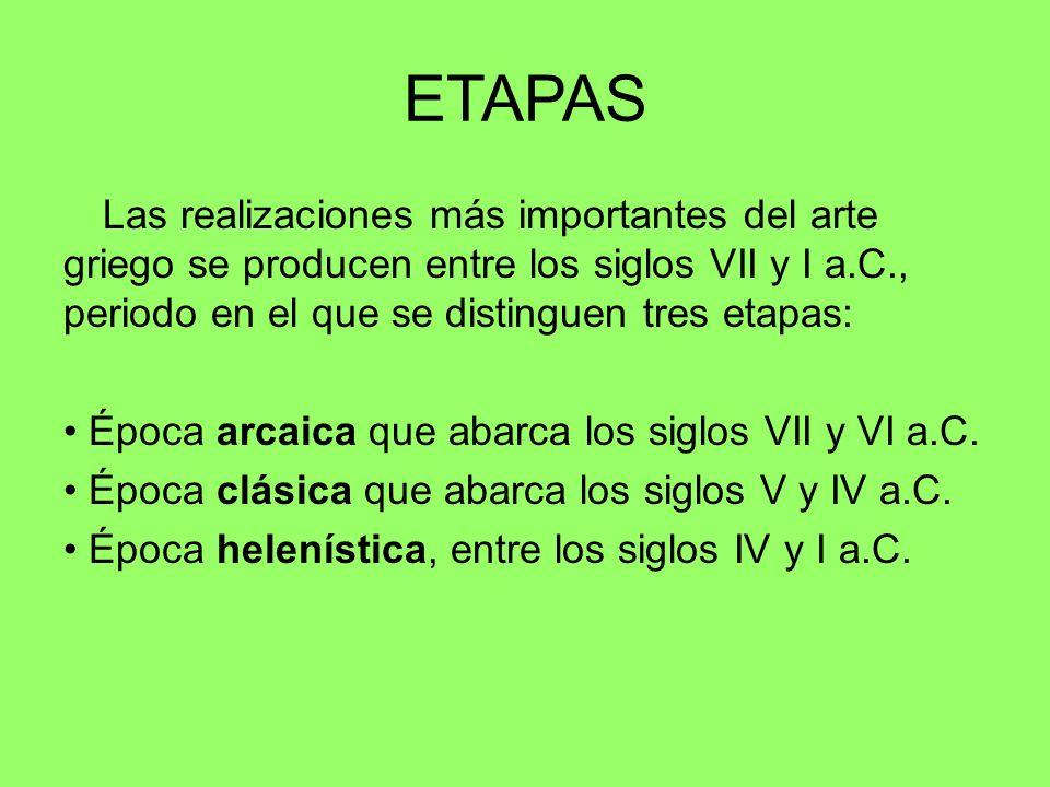 ETAPAS Las realizaciones más importantes del arte griego se producen entre los siglos VII y I a.C., periodo en el que se distinguen tres etapas: Época