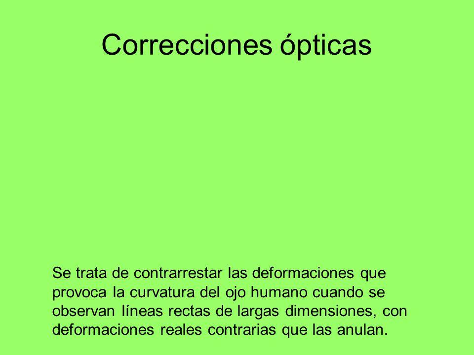 Correcciones ópticas Se trata de contrarrestar las deformaciones que provoca la curvatura del ojo humano cuando se observan líneas rectas de largas di