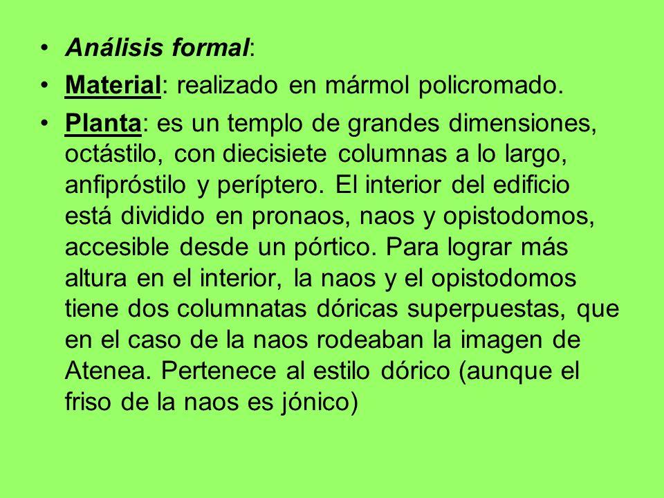 Análisis formal: Material: realizado en mármol policromado. Planta: es un templo de grandes dimensiones, octástilo, con diecisiete columnas a lo largo