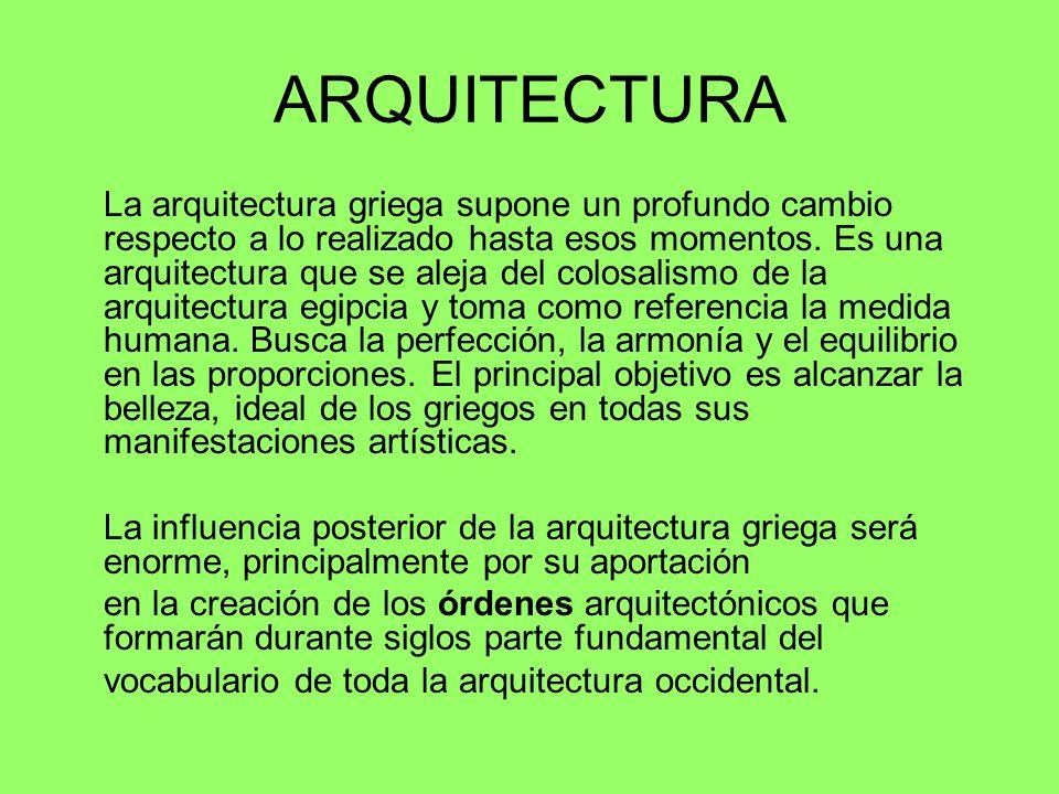 ARQUITECTURA La arquitectura griega supone un profundo cambio respecto a lo realizado hasta esos momentos. Es una arquitectura que se aleja del colosa