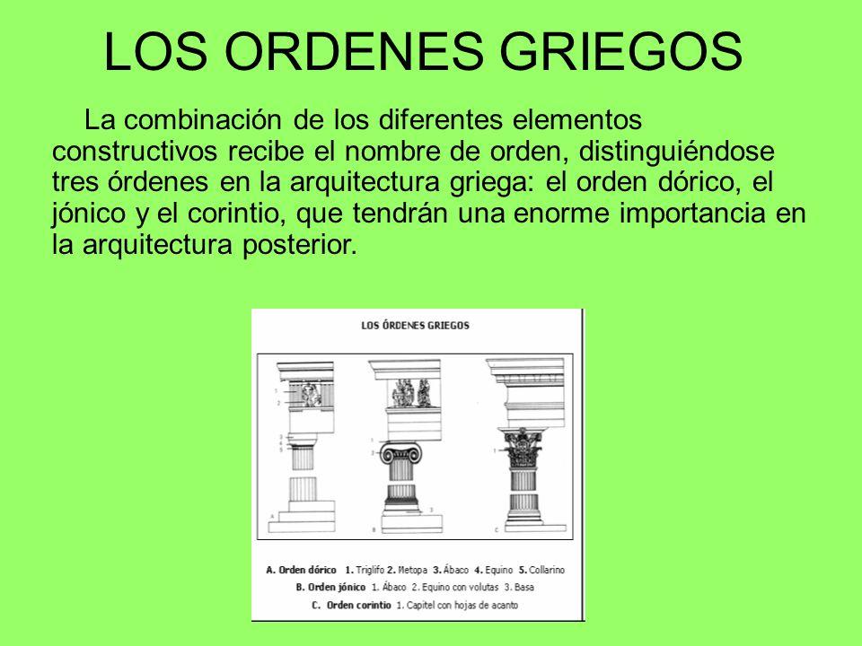 LOS ORDENES GRIEGOS La combinación de los diferentes elementos constructivos recibe el nombre de orden, distinguiéndose tres órdenes en la arquitectur