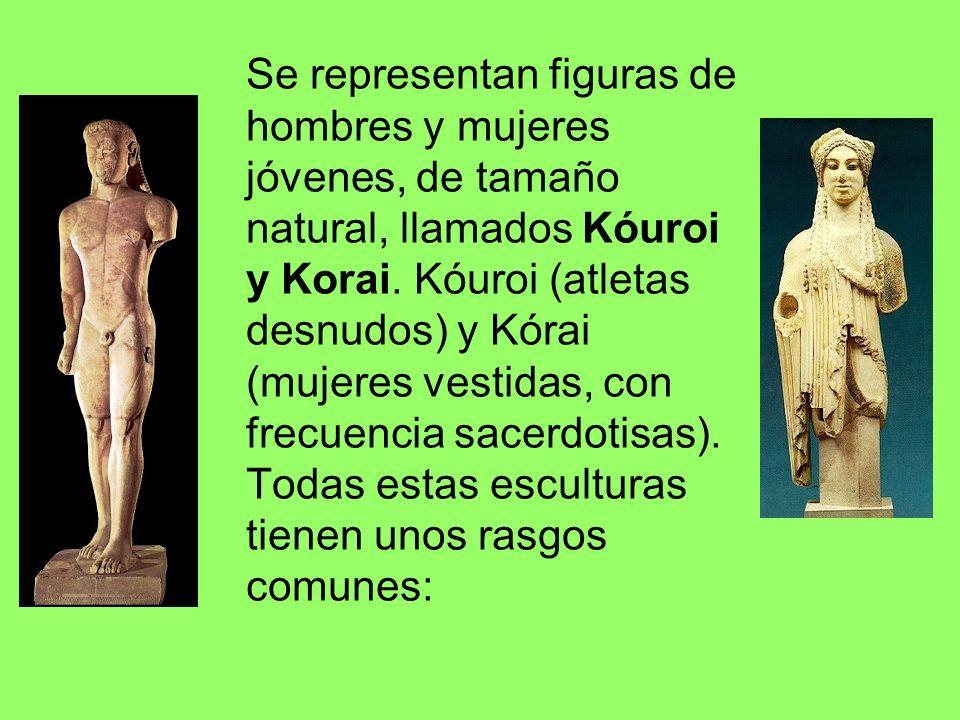 Se representan figuras de hombres y mujeres jóvenes, de tamaño natural, llamados Kóuroi y Korai. Kóuroi (atletas desnudos) y Kórai (mujeres vestidas,
