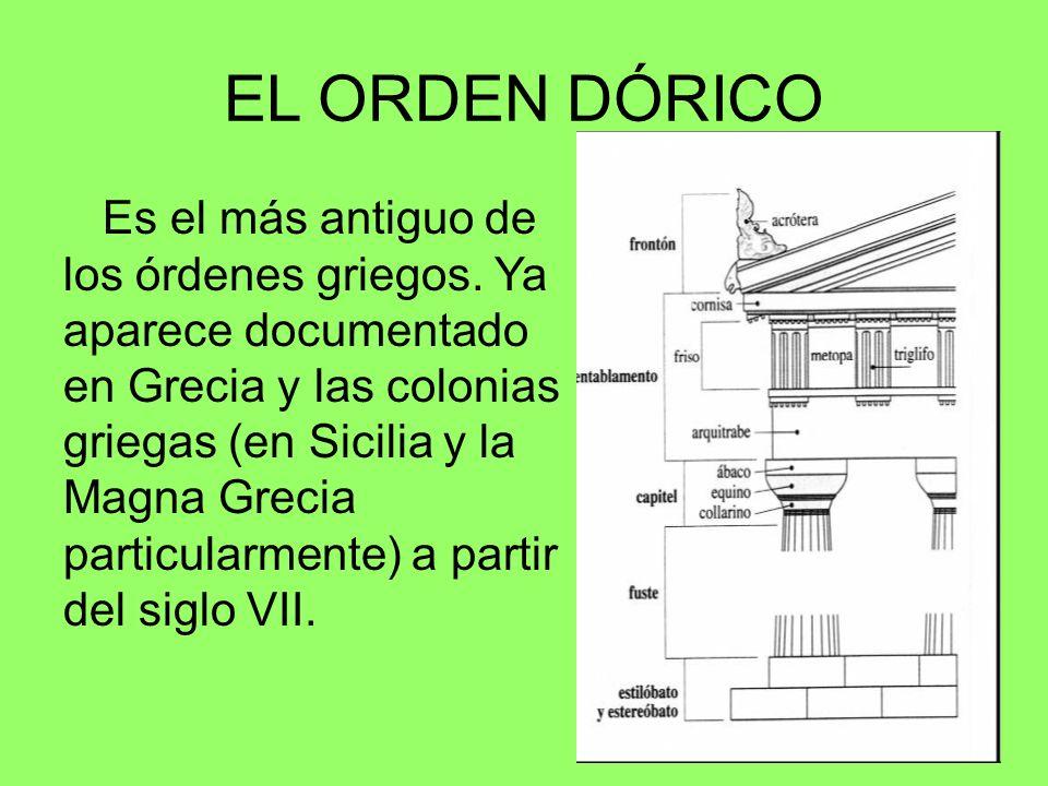 EL ORDEN DÓRICO Es el más antiguo de los órdenes griegos. Ya aparece documentado en Grecia y las colonias griegas (en Sicilia y la Magna Grecia partic