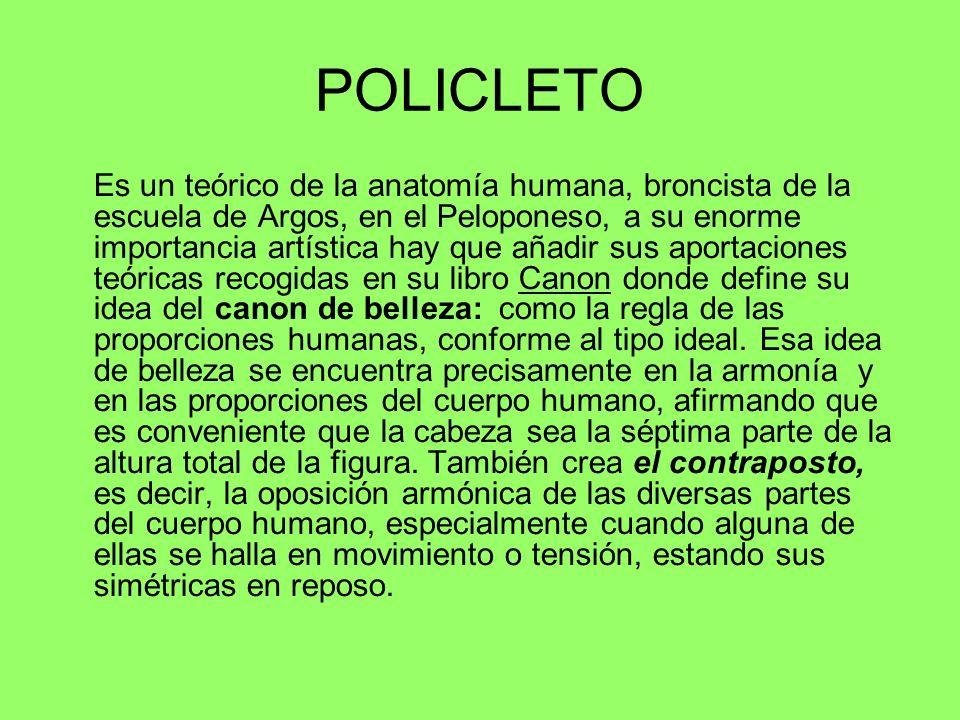 POLICLETO Es un teórico de la anatomía humana, broncista de la escuela de Argos, en el Peloponeso, a su enorme importancia artística hay que añadir su