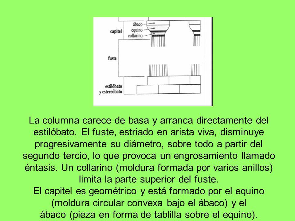 La principal diferencia con el orden jónico está en el capitel, que consta de un núcleo central en torno al que se envuelven dos coronas con ocho hojas de acanto cada una.