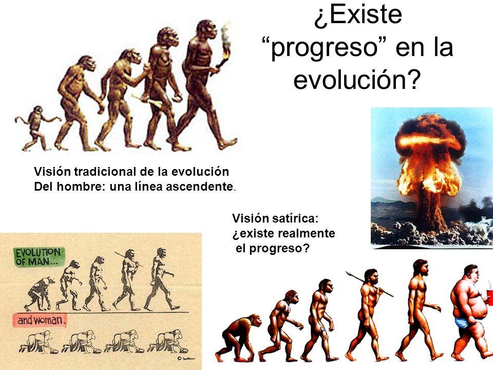 ¿Existe progreso en la evolución? Visión tradicional de la evolución Del hombre: una línea ascendente. Visión satírica: ¿existe realmente el progreso?