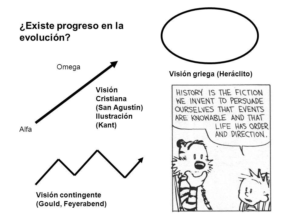Alfa Omega Visión Cristiana (San Agustín) Ilustración (Kant) Visión griega (Heráclito) Visión contingente (Gould, Feyerabend) ¿Existe progreso en la e