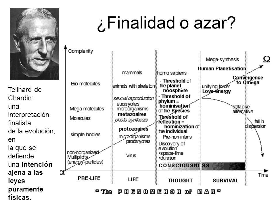¿Finalidad o azar? Teilhard de Chardin: una interpretación finalista de la evolución, en la que se defiende una intención ajena a las leyes puramente
