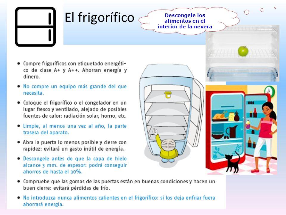 El frigorífico Descongele los alimentos en el interior de la nevera