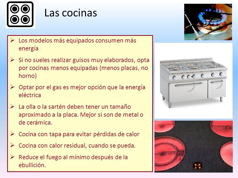 Las cocinas Los modelos más equipados consumen más energía Si no sueles realizar guisos muy elaborados, opta por cocinas menos equipadas (menos placas