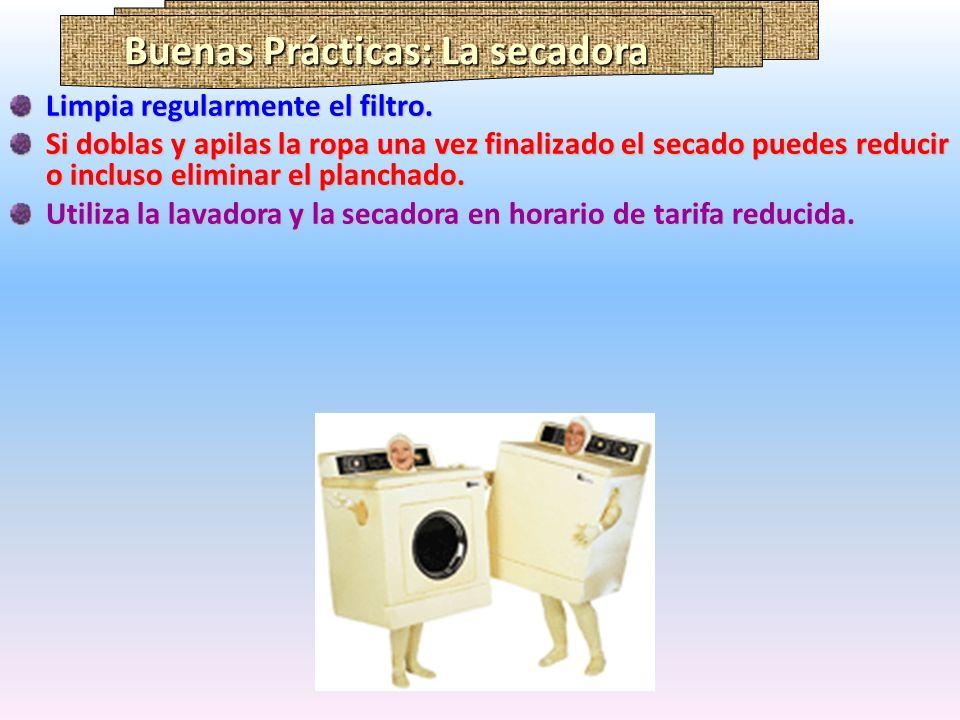Buenas Prácticas: La secadora Limpia regularmente el filtro. Si doblas y apilas la ropa una vez finalizado el secado puedes reducir o incluso eliminar