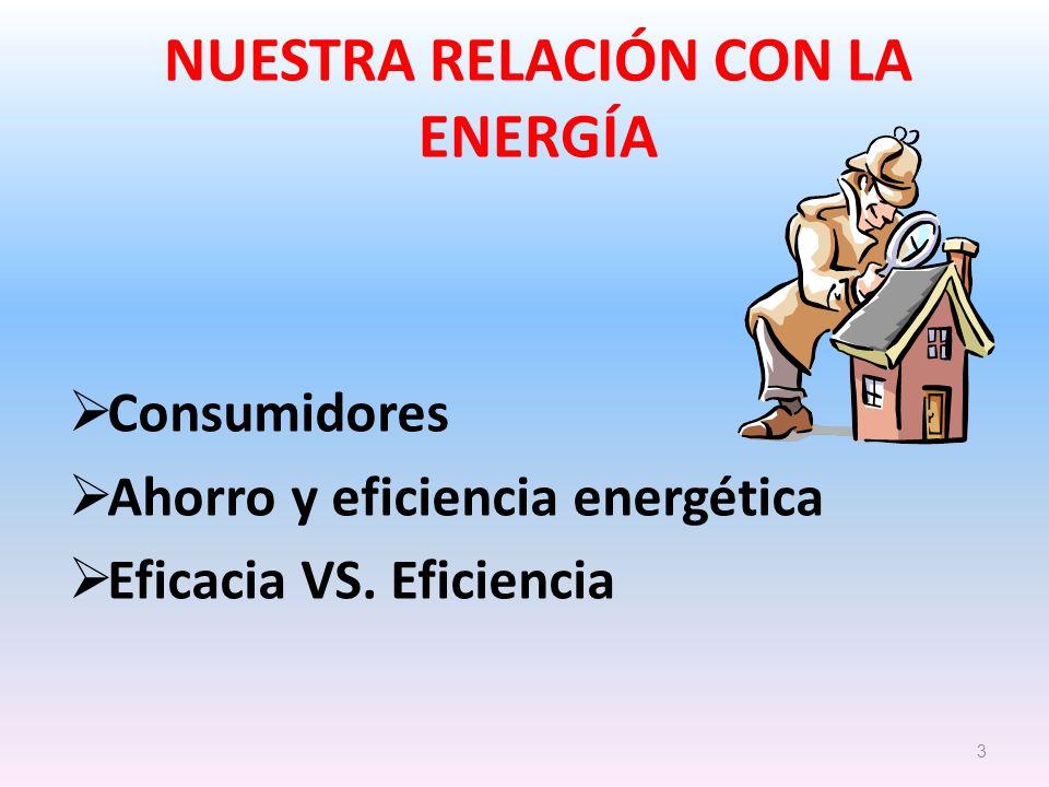 NUESTRA RELACIÓN CON LA ENERGÍA Consumidores Ahorro y eficiencia energética Eficacia VS. Eficiencia 3