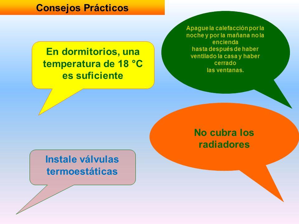 Consejos Prácticos En dormitorios, una temperatura de 18 °C es suficiente Apague la calefacción por la noche y por la mañana no la encienda hasta desp