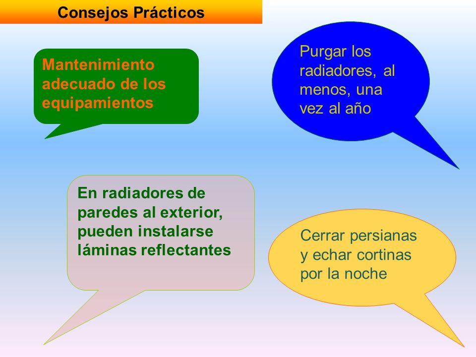 Consejos Prácticos Mantenimiento adecuado de los equipamientos Purgar los radiadores, al menos, una vez al año En radiadores de paredes al exterior, p