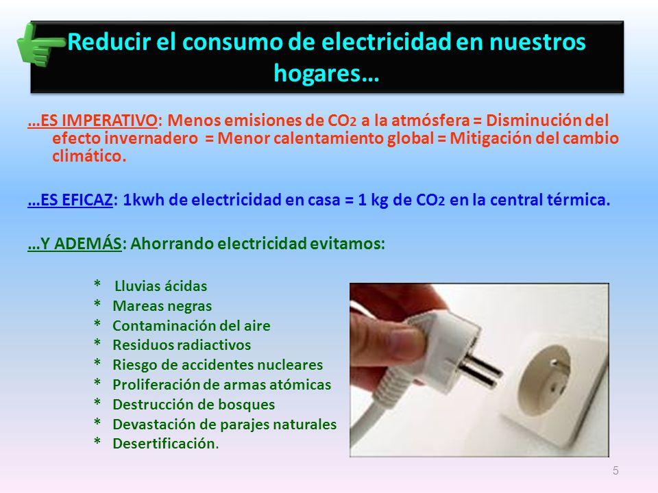 Reducir el consumo de electricidad en nuestros hogares… …ES IMPERATIVO: Menos emisiones de CO 2 a la atmósfera = Disminución del efecto invernadero =
