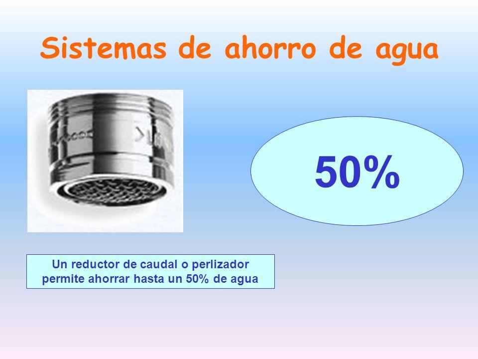 Sistemas de ahorro de agua Un reductor de caudal o perlizador permite ahorrar hasta un 50% de agua 50%
