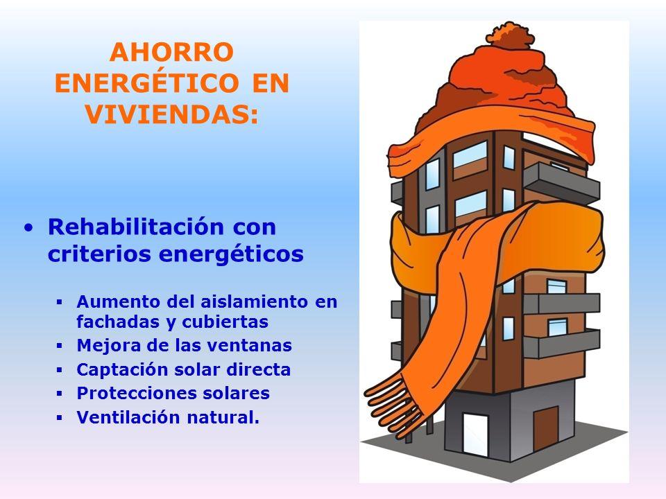 AHORRO ENERGÉTICO EN VIVIENDAS: Rehabilitación con criterios energéticos Aumento del aislamiento en fachadas y cubiertas Mejora de las ventanas Captac