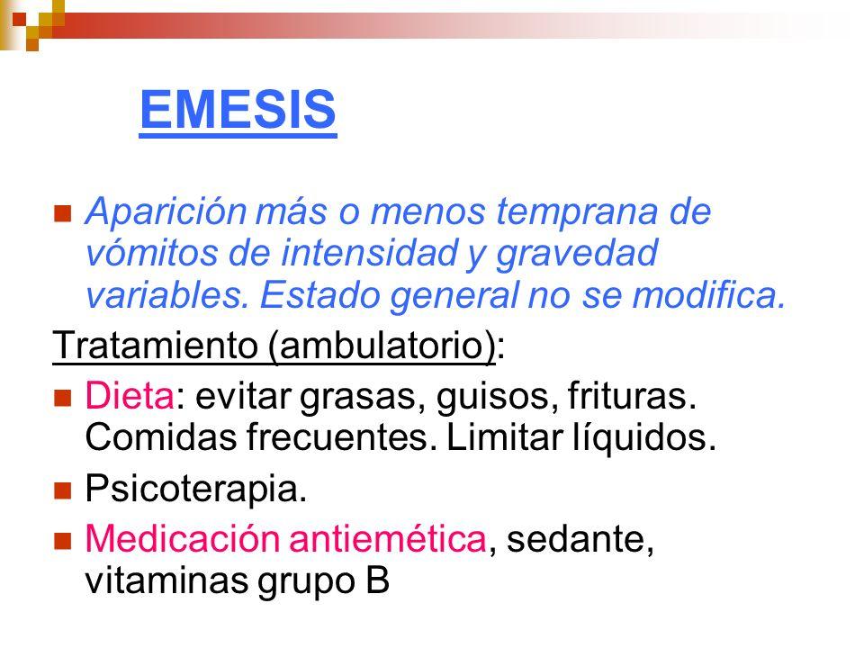 EMESIS Aparición más o menos temprana de vómitos de intensidad y gravedad variables. Estado general no se modifica. Tratamiento (ambulatorio): Dieta: