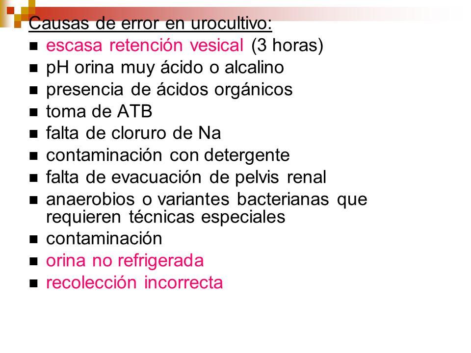 Causas de error en urocultivo: escasa retención vesical (3 horas) pH orina muy ácido o alcalino presencia de ácidos orgánicos toma de ATB falta de clo