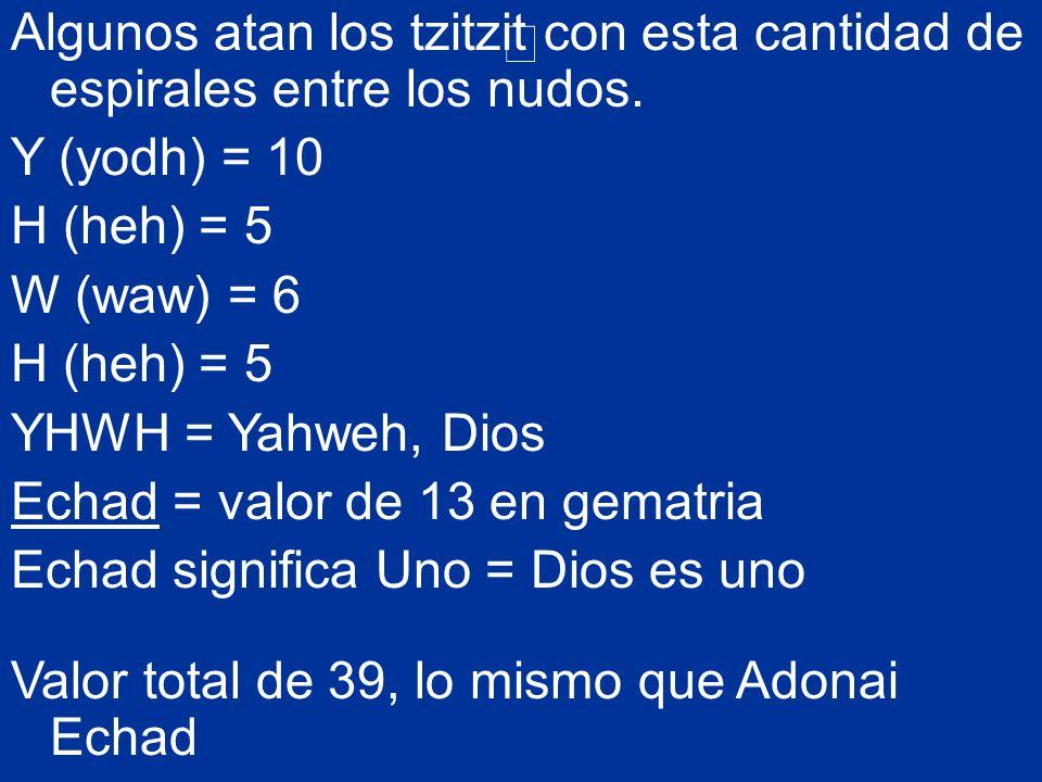 Algunos atan los tzitzit con esta cantidad de espirales entre los nudos. Y (yodh) = 10 H (heh) = 5 W (waw) = 6 H (heh) = 5 YHWH = Yahweh, Dios Echad =
