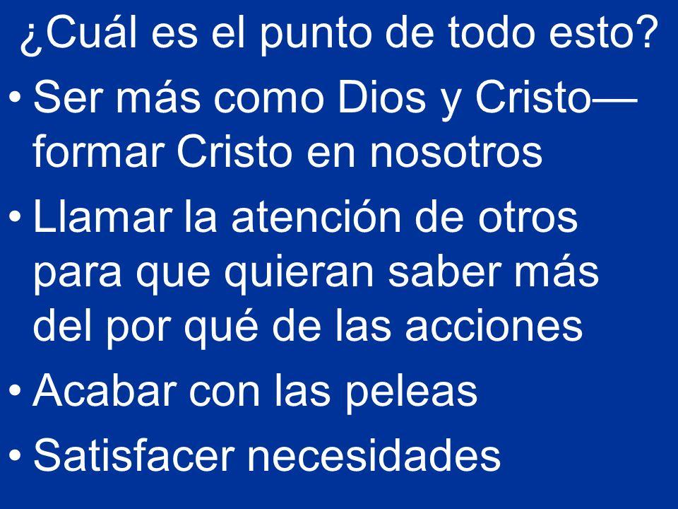 ¿Cuál es el punto de todo esto? Ser más como Dios y Cristo formar Cristo en nosotros Llamar la atención de otros para que quieran saber más del por qu