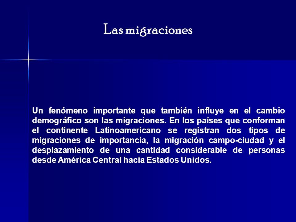 Las migraciones Un fenómeno importante que también influye en el cambio demográfico son las migraciones. En los países que conforman el continente Lat