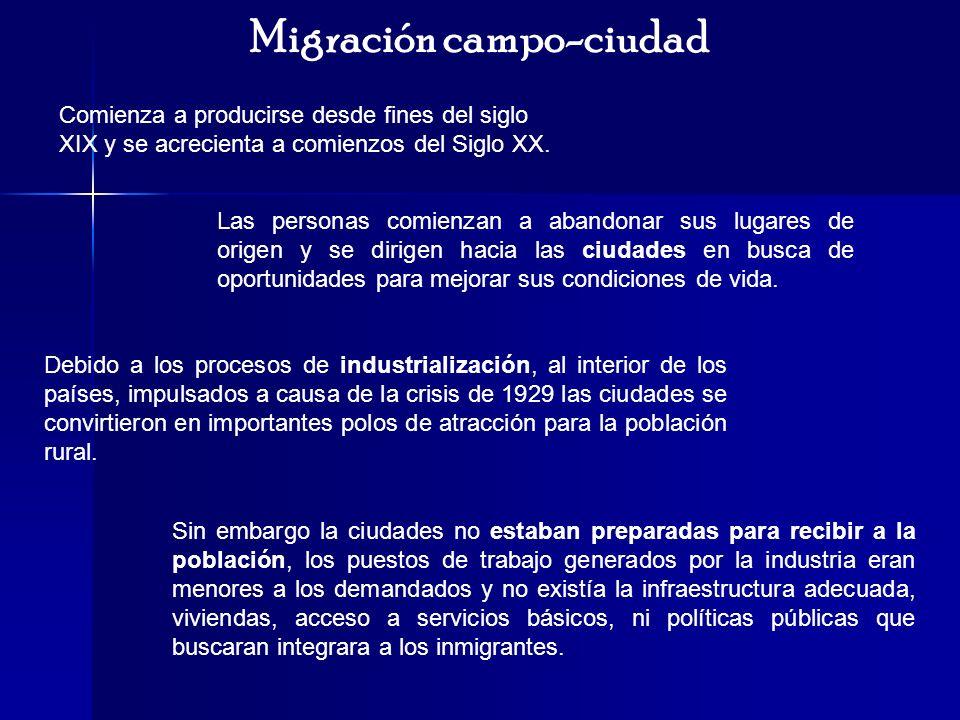 Migración campo-ciudad Comienza a producirse desde fines del siglo XIX y se acrecienta a comienzos del Siglo XX. Las personas comienzan a abandonar su