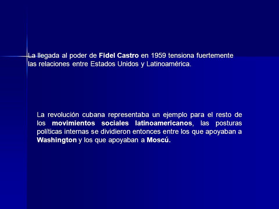La llegada al poder de Fidel Castro en 1959 tensiona fuertemente las relaciones entre Estados Unidos y Latinoamérica. La revolución cubana representab
