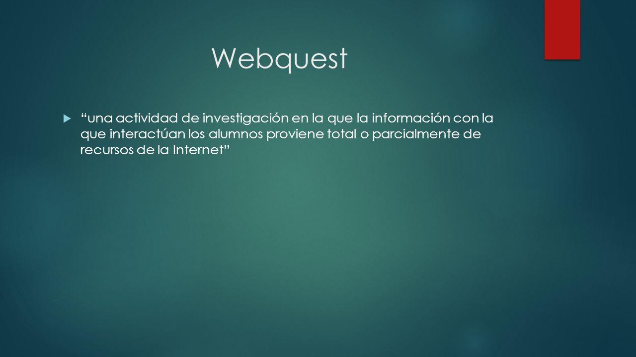 Webquest una actividad de investigación en la que la información con la que interactúan los alumnos proviene total o parcialmente de recursos de la In