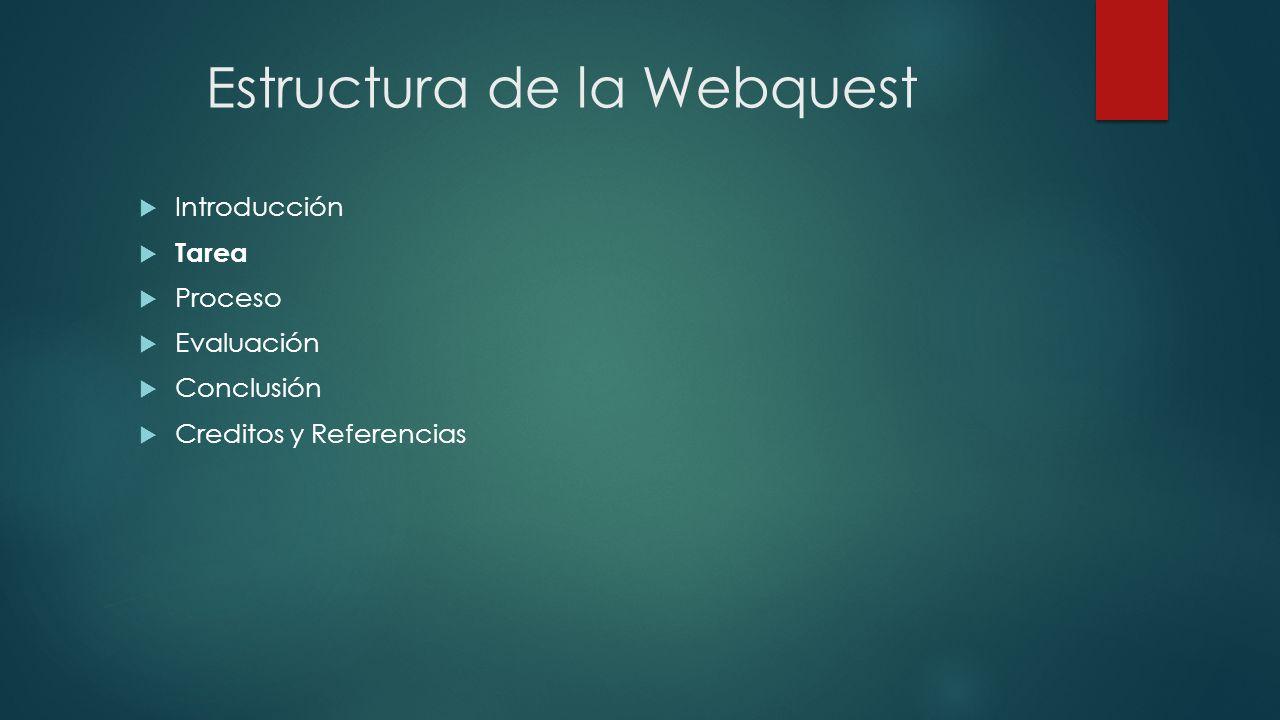 Estructura de la Webquest Introducción Tarea Proceso Evaluación Conclusión Creditos y Referencias