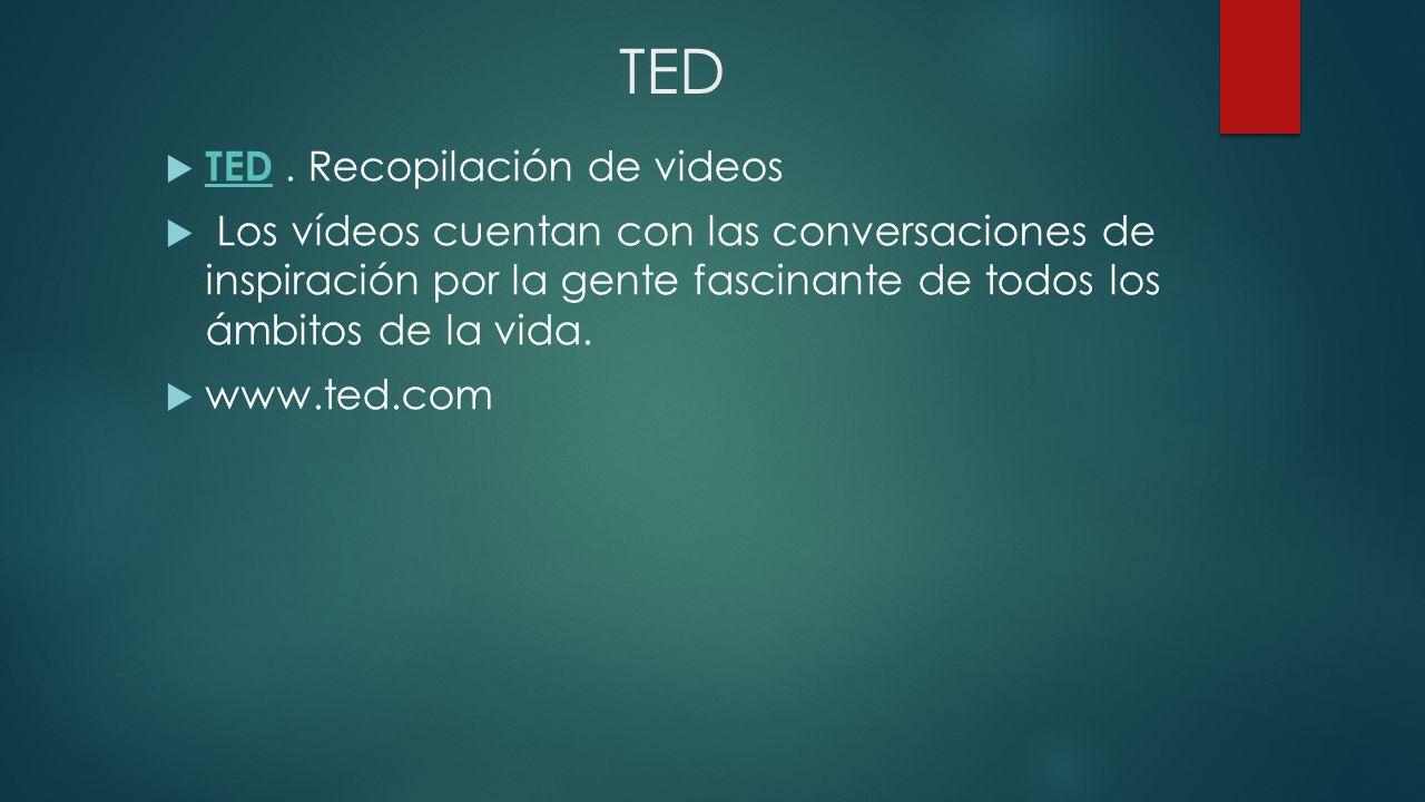TED TED. Recopilación de videos TED Los vídeos cuentan con las conversaciones de inspiración por la gente fascinante de todos los ámbitos de la vida.
