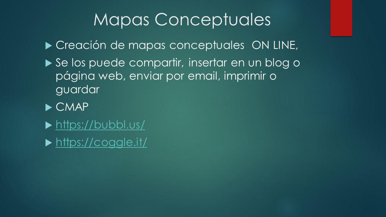 Mapas Conceptuales Creación de mapas conceptuales ON LINE, Se los puede compartir, insertar en un blog o página web, enviar por email, imprimir o guar