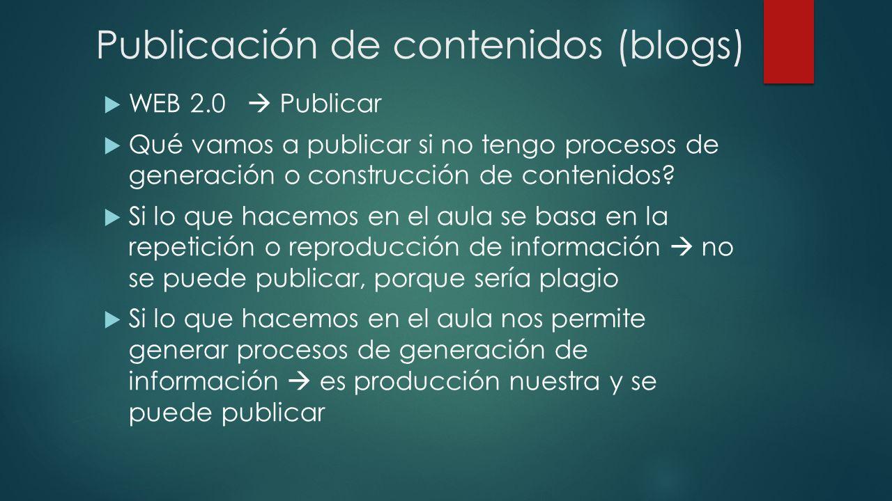 Publicación de contenidos (blogs) WEB 2.0 Publicar Qué vamos a publicar si no tengo procesos de generación o construcción de contenidos? Si lo que hac