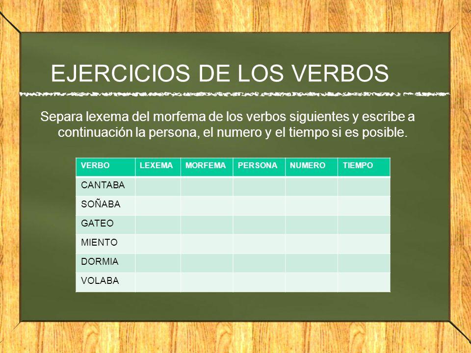 EJERCICIOS DE LOS VERBOS Separa lexema del morfema de los verbos siguientes y escribe a continuación la persona, el numero y el tiempo si es posible.