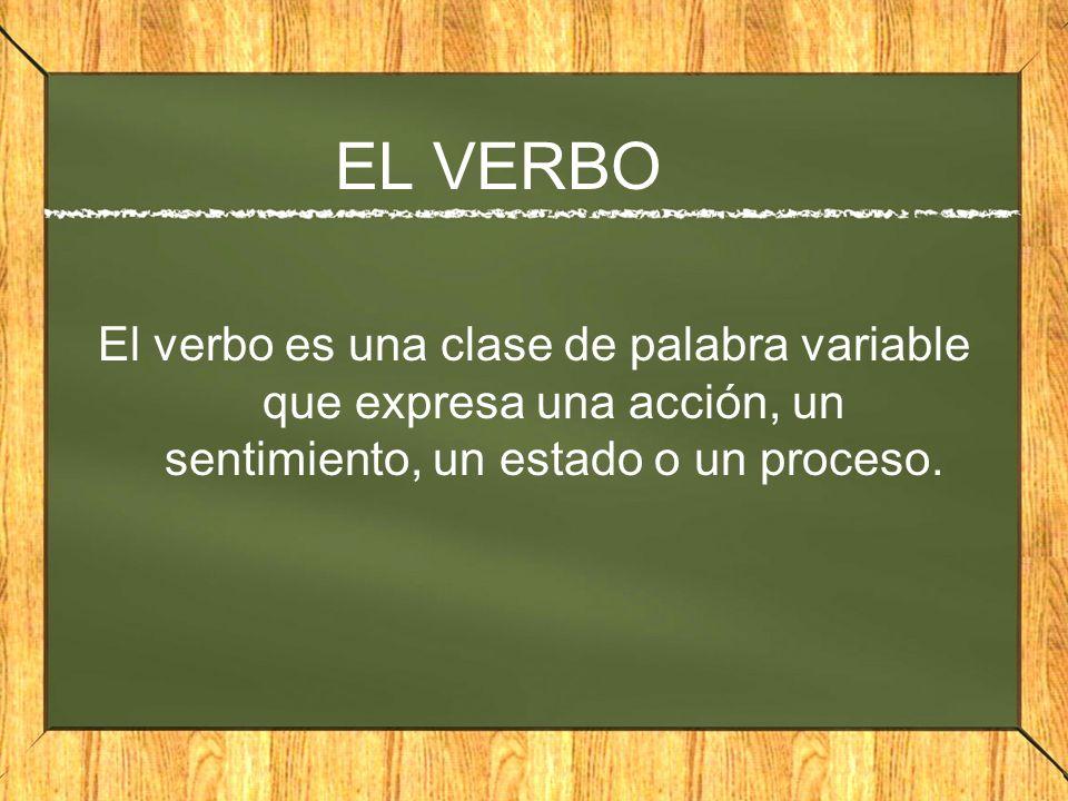 EL VERBO El verbo es una clase de palabra variable que expresa una acción, un sentimiento, un estado o un proceso.