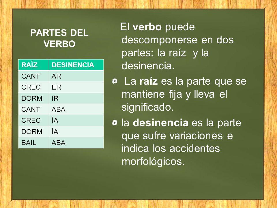 PARTES DEL VERBO El verbo puede descomponerse en dos partes: la raíz y la desinencia. La raíz es la parte que se mantiene fija y lleva el significado.