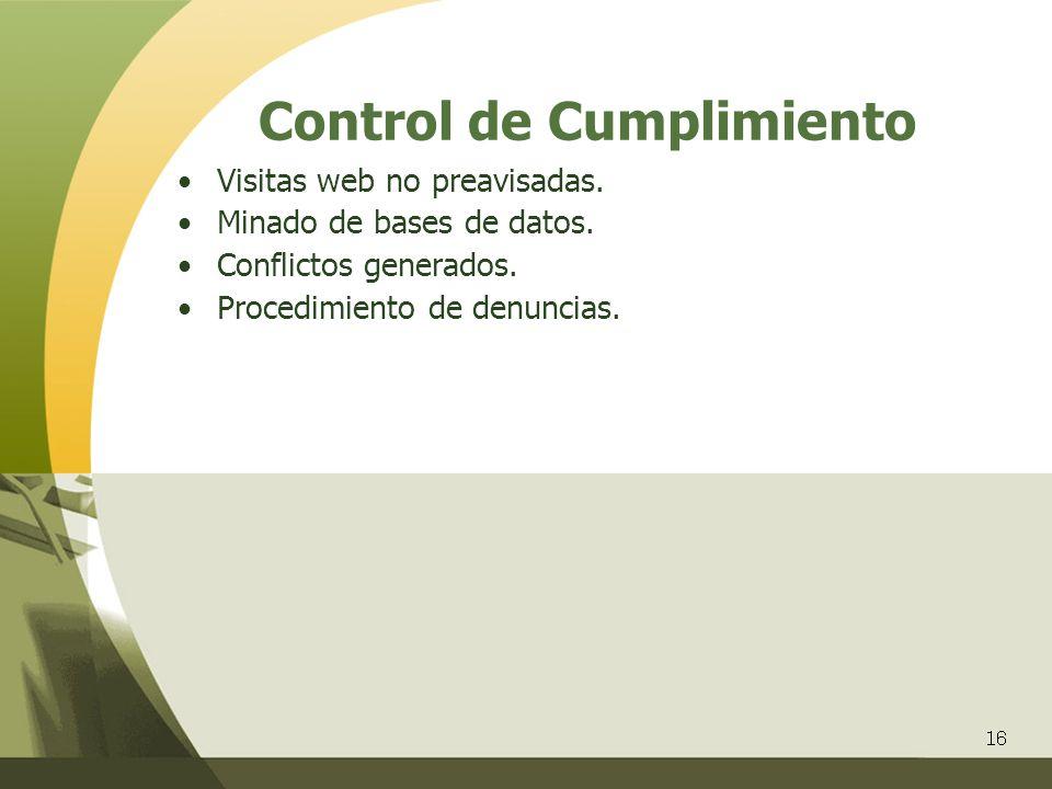 16 Control de Cumplimiento Visitas web no preavisadas. Minado de bases de datos. Conflictos generados. Procedimiento de denuncias.