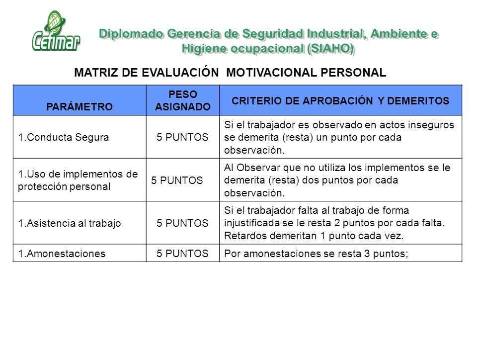 MATRIZ DE EVALUACIÓN MOTIVACIONAL PERSONAL PARÁMETRO PESO ASIGNADO CRITERIO DE APROBACIÓN Y DEMERITOS 1.Conducta Segura5 PUNTOS Si el trabajador es ob