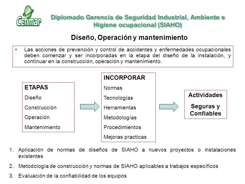 Las acciones de prevención y control de accidentes y enfermedades ocupacionales deben comenzar y ser incorporadas en la etapa del diseño de la instala