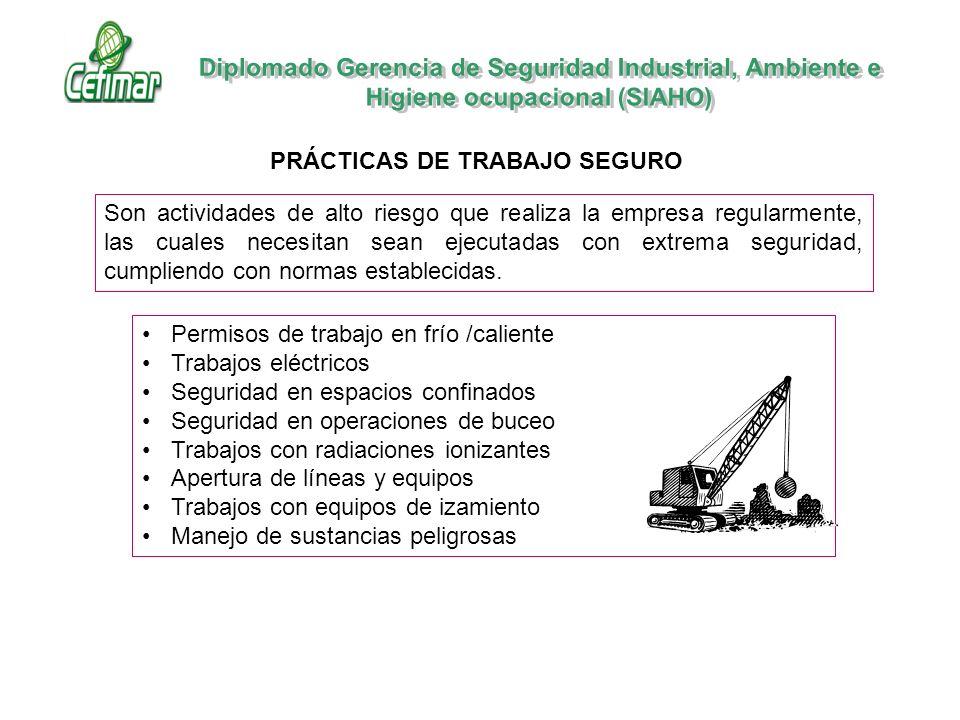 Permisos de trabajo en frío /caliente Trabajos eléctricos Seguridad en espacios confinados Seguridad en operaciones de buceo Trabajos con radiaciones