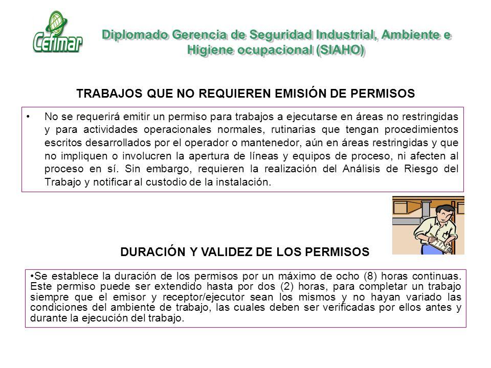 No se requerirá emitir un permiso para trabajos a ejecutarse en áreas no restringidas y para actividades operacionales normales, rutinarias que tengan