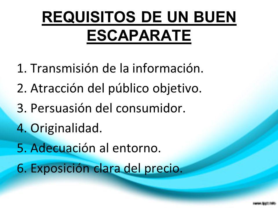 REQUISITOS DE UN BUEN ESCAPARATE 1. Transmisión de la información. 2. Atracción del público objetivo. 3. Persuasión del consumidor. 4. Originalidad. 5