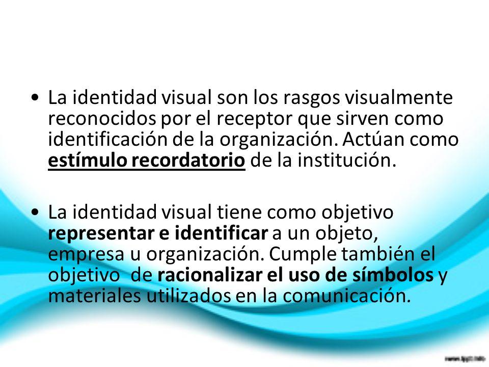 La identidad visual son los rasgos visualmente reconocidos por el receptor que sirven como identificación de la organización. Actúan como estímulo rec