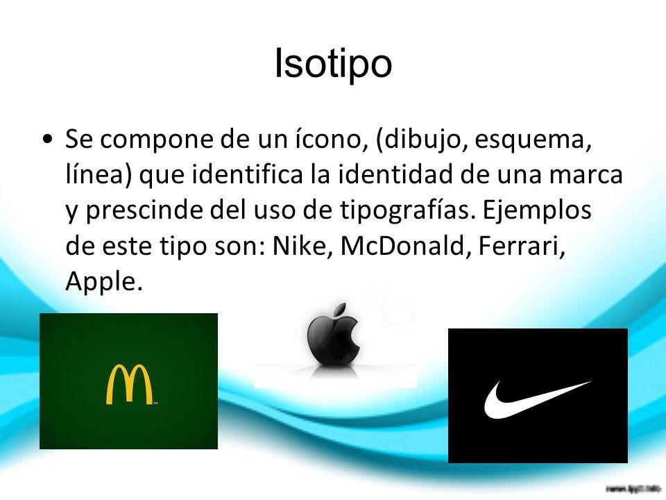 Isotipo Se compone de un ícono, (dibujo, esquema, línea) que identifica la identidad de una marca y prescinde del uso de tipografías. Ejemplos de este