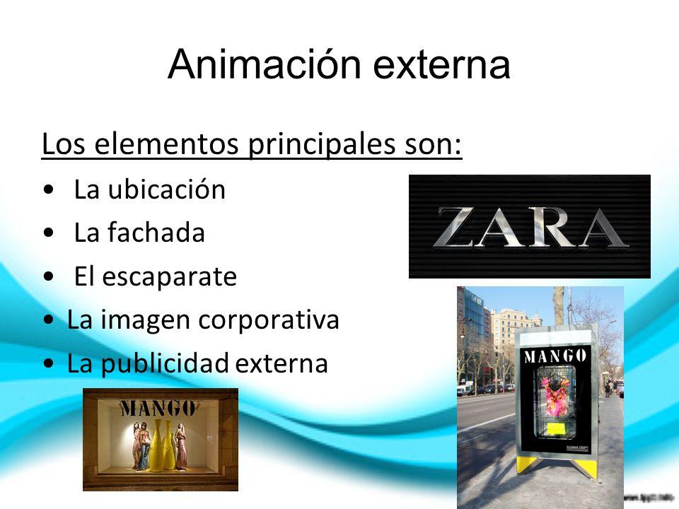 Animación externa Los elementos principales son: La ubicación La fachada El escaparate La imagen corporativa La publicidad externa